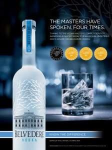 """Belvedere Vodka es la bebida que más galardones de """"Vodka Masters"""" ha recibido, un total de 29, desde que fueron creados en el año 2007."""