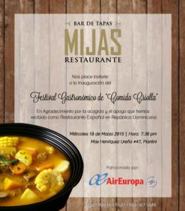 Los platos del menú fueron ideados por el chef español Carlos Martínez quien tomó como inspiración los sabores e ingredientes de nuestro país.